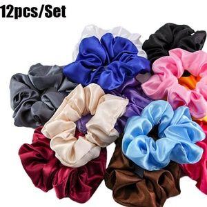 12 X Hair Scrunchies Satin Elastic Hair Bands